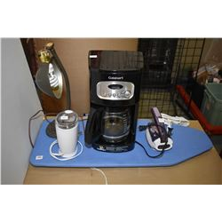 Cuisinart coffee maker, grinder etc. Cuisinart coffee maker, coffee grinder, plus small iron and a v