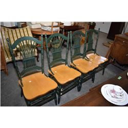 Four antique style dining chairs Four semi-contemporary antique style green and natural wood dining