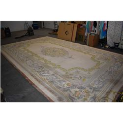 "Heavy large sculpted area carpet Huge heavy quality sculpted wood carpet 147"" X 240"" with floral pat"