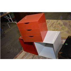 Three plastic storage cubes Three plastic storage cubes including one fitted with drawers