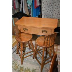 Single drawer writing desk and two stools Single drawer writing desk with two child sized stools