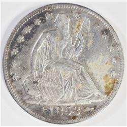 1853-O ARROWS & RAYS SEATED HALF DOLLAR, XF/AU