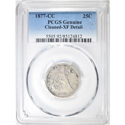 1877-CC SEATED QUARTER, PCGS XF cleaned