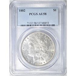 1882 MORGAN DOLLAR, PCGS AU-58