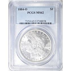 1884-O MORGAN DOLLAR, PCGS MS-62