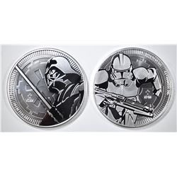 2-DIFFERENT NIUE STAR WARS 1oz SILVER COINS