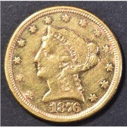 1876 $2.50 GOLD AU/BU