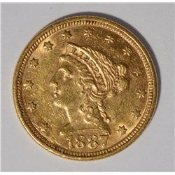 1887 $2.5 GOLD LIBERTY AU/BU