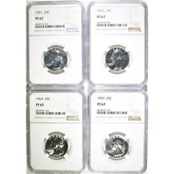 1961-64 PROOF SILVER QUARTERS NGC PF 67