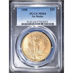 1908 PCGS MS64 NO MOTTO $20