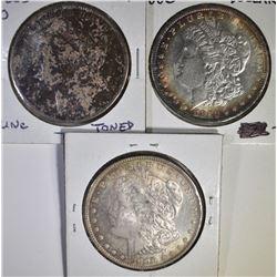 3 CH BU TONED MORGAN DOLLARS  1885-O 80, 96