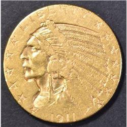 1911-D $5.00 GOLD INDIAN AU KEY DATE