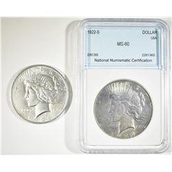 1922-S NNC BU & 1926 BU CLEANED PEACE DOLLARS