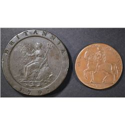 TWO 18TH CENTURY BRITISH COPPER COINS