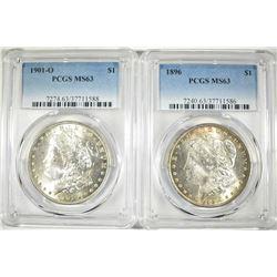 1896 & 1901-O MORGAN DOLLARS  PCGS MS-63