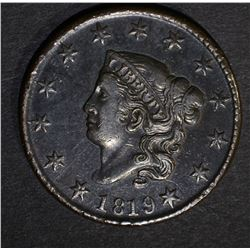 1819 LARGE CENT, AU STRONG STRIKE