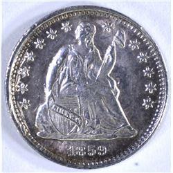 1859-O SEATED HALF DIME, AU/BU clashed dies