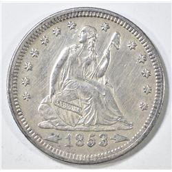 1853 ARROWS & RAYS SEATED QUARTER, AU+