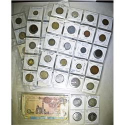 MIXED LOT OF FOREIGN COINS AND CURRENCY