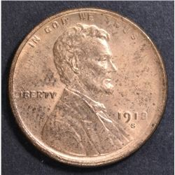 1918-S LINCOLN CENT  CH BU RB