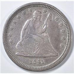 1841-O SEATED LIBERTY QUARTER  VF/XF