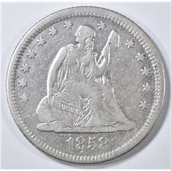 1858-O SEATED LIBERTY QUARTER  VF