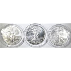 2002, 03 & 04 BU AMERICAN SILVER EAGLES