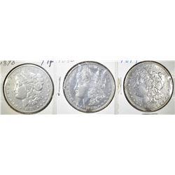 1878 7TF, 79-S & 80 CIRC MORGAN DOLLARS XF OR BETT