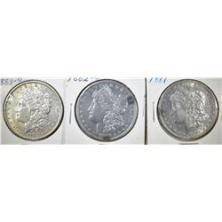 1881, 82-O & 83-O CIRC MORGAN DOLLARS XF OR BETTER