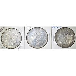 1896, 97-S & 88 CIRC MORGAN DOLLARS XF OR BETTER