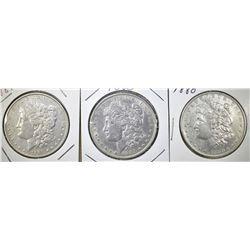 1880, 85 & 89 CIRC MORGAN DOLLARS XF OR BETTER