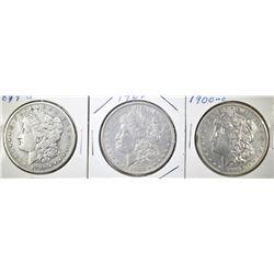 1899-S,1900, 1900-O MORGAN DOLLARS FINE OR BETER