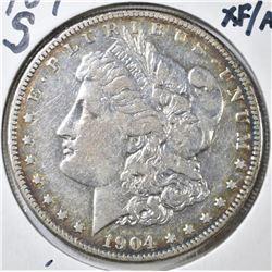 1904-S MORGAN DOLLAR, XF/AU KEY DATE