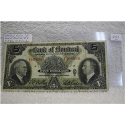 Bank of Montreal Five Dollar Bill (1)