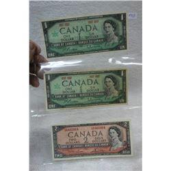 Canada One Dollar Bills (2)1967 & Canada Two Dollar Bill 1954; Modified