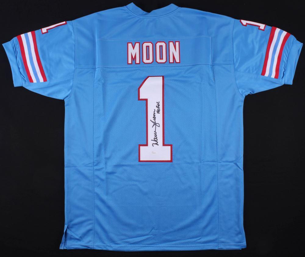 pretty nice 87da7 59bc5 Warren Moon Signed Houston Oilers Jersey Inscribed