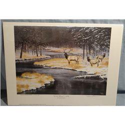 Darrell Davis, Cold River-Elk, 1357/5000, signed, Montana DU Special Edition, 15w x 13h