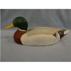 Mallard duck wood carved decoy