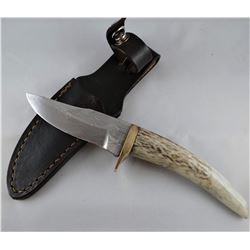 "2 knives: Jim Brewer knife, horn handle, 3 1/2"" blade; J. Brewer, Zicicete Handle, 3 1/2"" blade"