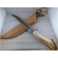 "Running Wolf knife, antler handle, file rasp blade, 10"""