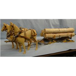 """Carved wood team of horses w/ logs on sled, 9"""" h x 30"""" long"""