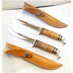 """2 Case hunting knives, 5"""", both #31605, with sheaths"""