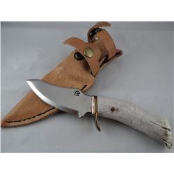 "Running Wolf knife, bone handle, 4"" blade"