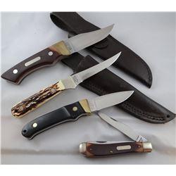 4 knives: OldTimer jack knife, 2 Schrade, 1 Uncle Henry