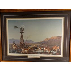 Les Kouba, Antelope in Ranch Country, 676/2000, signed, 23w x 15h