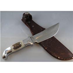 "Ruana M knife, antler handle, 5"" blade"