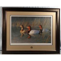 James Hautman, First Light-Canvasbacks, 148/3200, signed, DU 2011 Artist of The Year, 24w x 16h