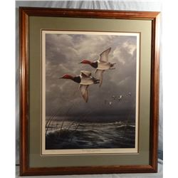 James Hautman, Fowl Weather-Canvasbacks, 3568/5000, signed, 18w x 23h
