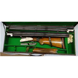 Hebsacker O/U, two sets of barrels, hard case, cleaning rod, sidelock action, 12 GA, s#35019