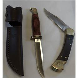 """2 Buck knifes: 4"""" hunting knife w/ sheath and 1 folding knife"""